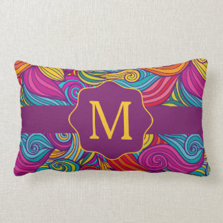 Retro Colorful Jewel Tone Swirly Wave Pattern Lumbar Cushion