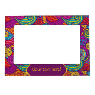 Retro Colorful Jewel Tone Swirly Wave Pattern Magnetic Picture Frame