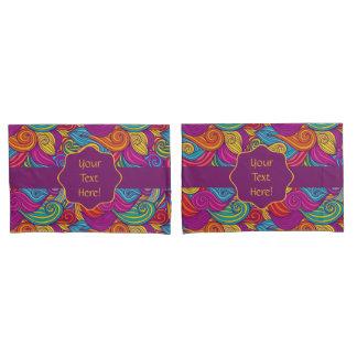 Retro Colorful Jewel Tone Swirly Wave Pattern Pillowcase