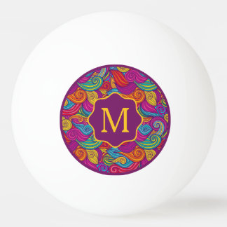 Retro Colorful Jewel Tone Swirly Wave Pattern Ping Pong Ball