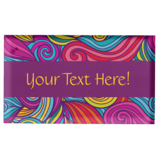 Retro Colorful Jewel Tone Swirly Wave Pattern Place Card Holder