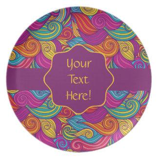 Retro Colorful Jewel Tone Swirly Wave Pattern Plate