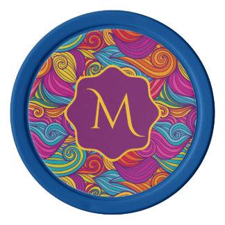 Retro Colorful Jewel Tone Swirly Wave Pattern Poker Chips