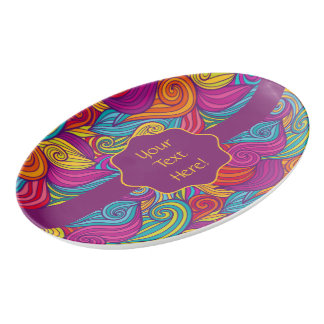 Retro Colorful Jewel Tone Swirly Wave Pattern Porcelain Serving Platter