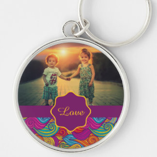 Retro Colorful Jewel Tone Swirly Wave Pattern Silver-Colored Round Key Ring