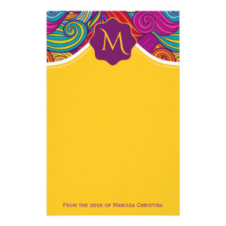 Retro Colorful Jewel Tone Swirly Wave Pattern Stationery