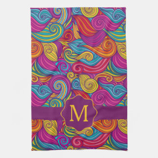 Retro Colorful Jewel Tone Swirly Wave Pattern Tea Towel