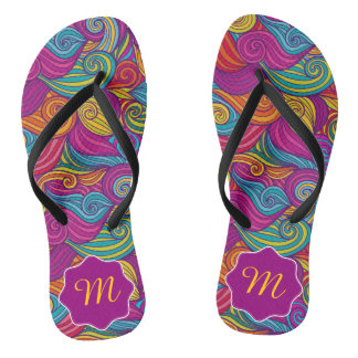 Retro Colorful Jewel Tone Swirly Wave Pattern Thongs
