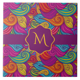 Retro Colorful Jewel Tone Swirly Wave Pattern Tile
