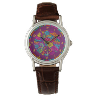 Retro Colorful Jewel Tone Swirly Wave Pattern Watch