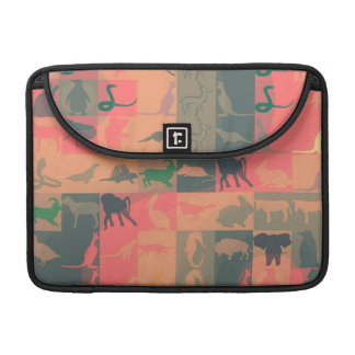 Retro Colorful Modern Animals Pattern #2 Sleeve For MacBook Pro
