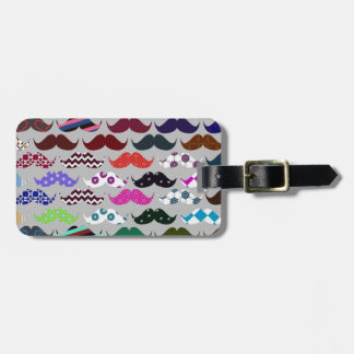 Retro Colorful Mustache Pattern Luggage Tag