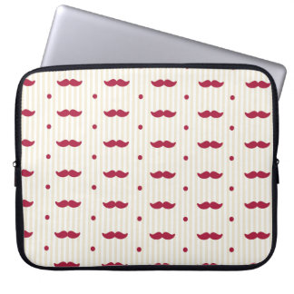 Retro Colorful Mustache Stache Handlebar Laptop Sleeve