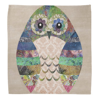 Retro Colorful Owl Boho Bohemian Bird Custom Bandana