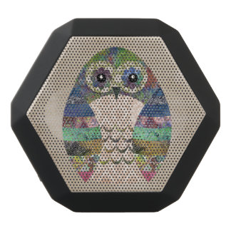 Retro Colorful Owl Boho Bohemian Bird Custom Black Bluetooth Speaker