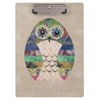 Retro Colorful Owl Boho Bohemian Bird Custom Clipboards