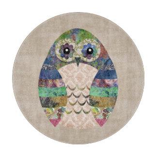 Retro Colorful Owl Boho Bohemian Bird Custom Cutting Board