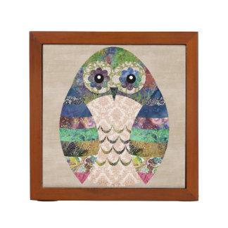 Retro Colorful Owl Boho Bohemian Bird Custom Desk Organiser