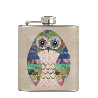 Retro Colorful Owl Boho Bohemian Bird Custom Hip Flask