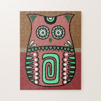 Retro Colorful Owl Boho Bohemian Bird Custom Jigsaw Puzzle
