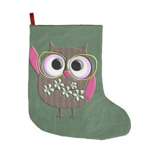 Retro Colorful Owl Boho Bohemian Bird Custom Large Christmas Stocking