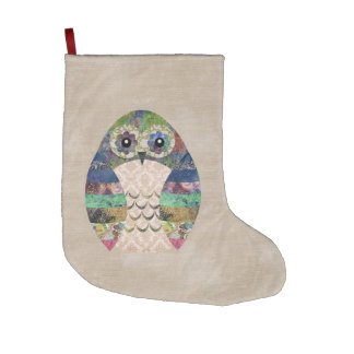 Retro Colorful Owl Boho Bohemian Bird Custom Large Christmas Stocking