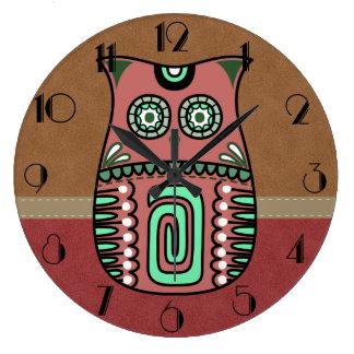 Retro Colorful Owl Boho Bohemian Bird Custom Large Clock