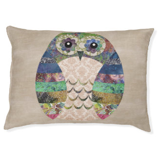 Retro Colorful Owl Boho Bohemian Bird Custom Pet Bed