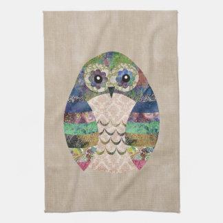 Retro Colorful Owl Boho Bohemian Bird Custom Tea Towel