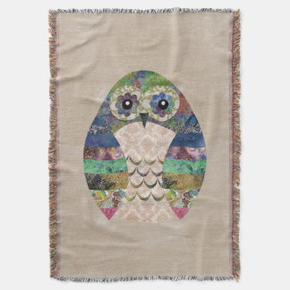 Retro Colorful Owl Boho Bohemian Bird Custom Throw Blanket