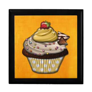 Retro Colorful Party Cupcakes Large Square Gift Box
