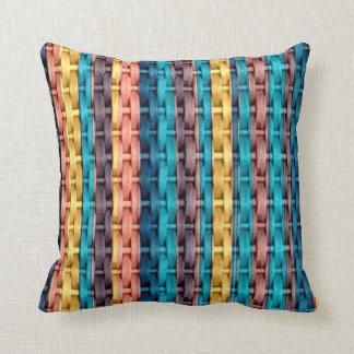 Retro colorful stripes wicker graphic design throw pillows
