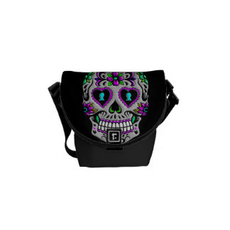 Retro Colorful Sugar Skull Courier Bag