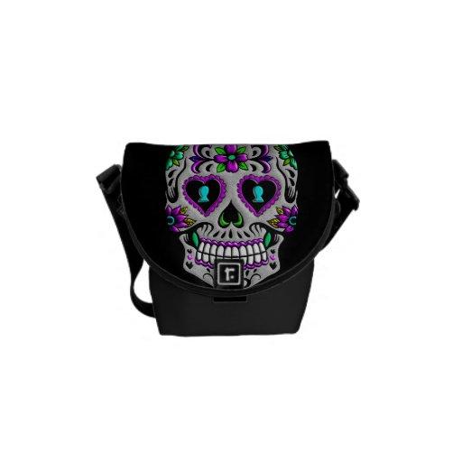 Retro Colorful Sugar Skull Courier Bags