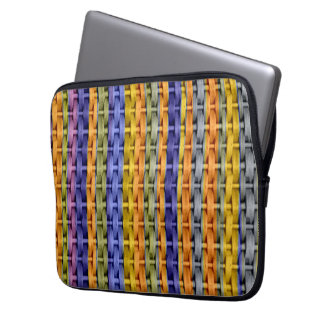 Retro colorful wicker art graphic design 2 laptop computer sleeves