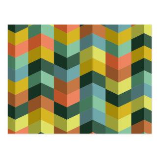 Retro colorful zig zag stripes pattern postcard