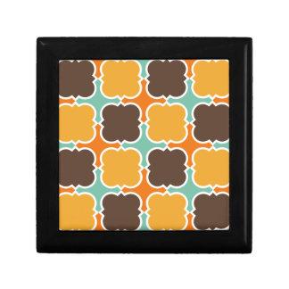 Retro Colors Barbed Quatrefoil Pattern Trinket Boxes