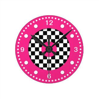 Retro Colors Checks and Hot Pink Wall Clock