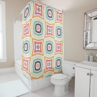 Retro Colourful Pattern Shower Curtain