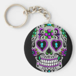 Retro Colourful Sugar Skull Basic Round Button Key Ring