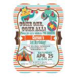 Retro Colours Circus Animals Birthday Party 13 Cm X 18 Cm Invitation Card