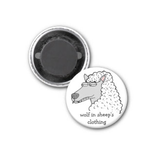 """Retro Comic Toon """"Wolf in Sheep's Clothing"""" 3 Cm Round Magnet"""