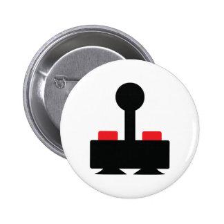 retro computer oldschool joystick geek 6 cm round badge