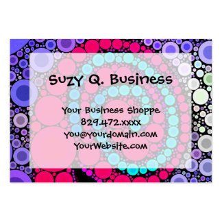 Retro Concentric Circles Cool Swirl Pattern Business Card Template