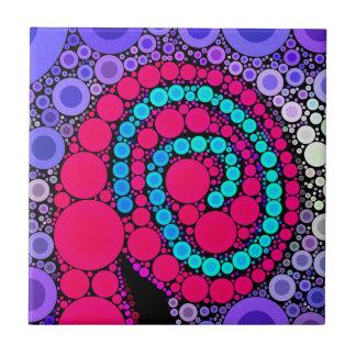 Retro Concentric Circles Cool Swirl Pattern Ceramic Tiles
