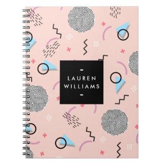 Retro Confetti Memphis Pattern Pink Personalized Notebooks