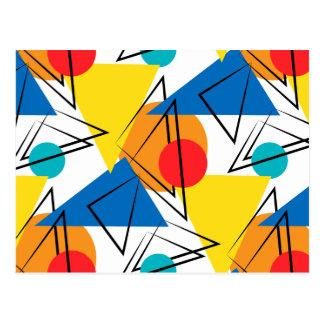Retro Contemporary Geometric Colorful Pattern Postcard