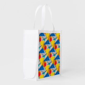 Retro Contemporary Geometric Colorful Pattern Reusable Grocery Bag
