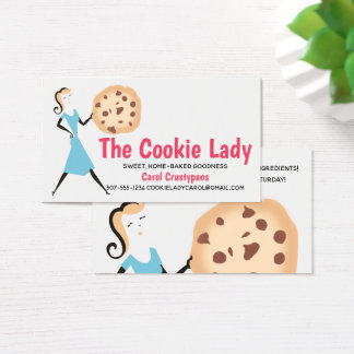 Retro cookie girl baking bakery business cards