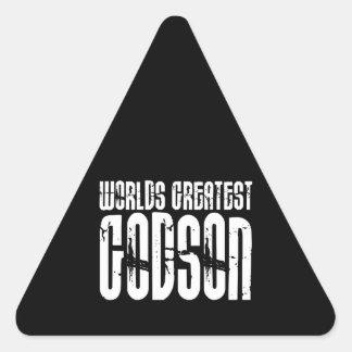 Retro Cool Godsons World s Greatest Godson Triangle Sticker